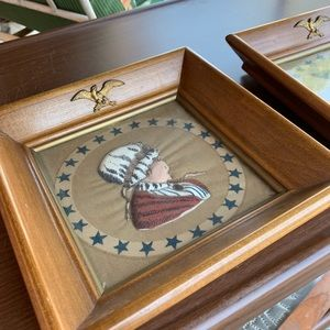 Wall Art - 2 VINTAGE QUILTED FABRIC ART